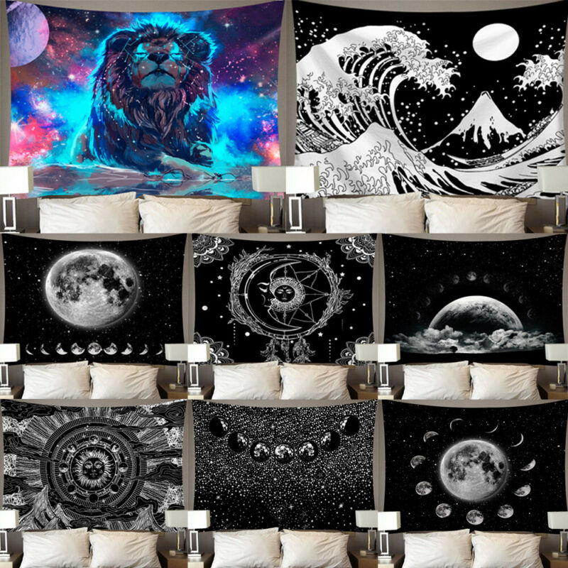 Lion Moon Tapestry Wall Hanging Hippie Witchcraft Tapiz Psychedelic Farmhouse Decor Tenture Tapisserie Beach Bohemian Custom Hot