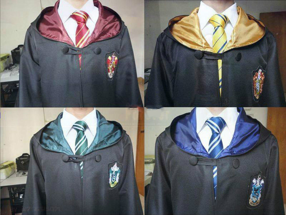 Cosplay Costume Potter Robe Cloak With Tie Ravenclaw Gryffindor Hufflepuff Slytherin Kids Adult Potter Costume