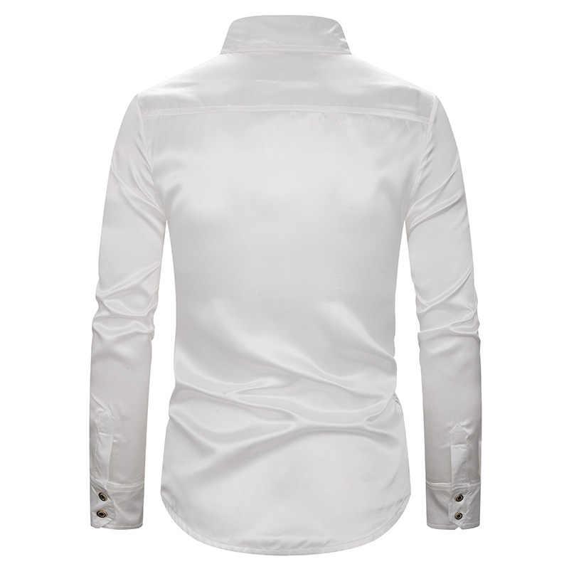 לבן יוקרה מבריק נצנצים חולצה גברים 2019 חדש לגמרי משי סאטן Mens שמלת חולצות תחתונית Homme לילה מועדון הזמר שלב Camisas