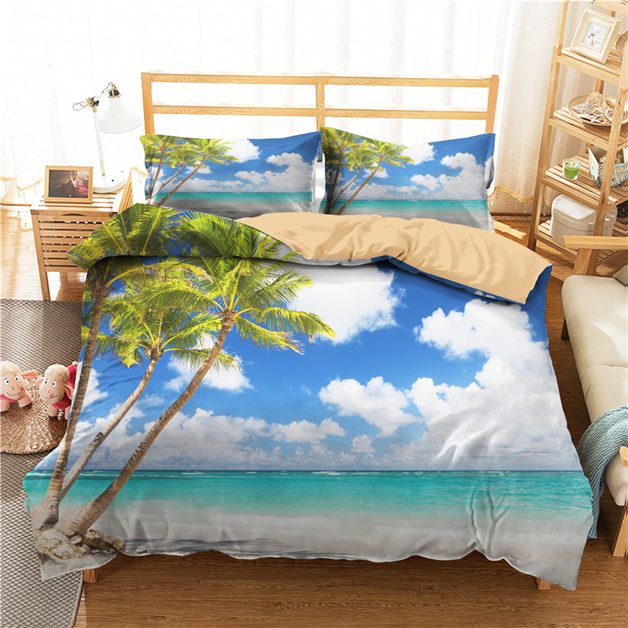 A Bedding Set 3D Printed Duvet Cover Bed Set Beach Sea Wave Home Textiles For Adults Bedclothes With Pillowcase #HL51
