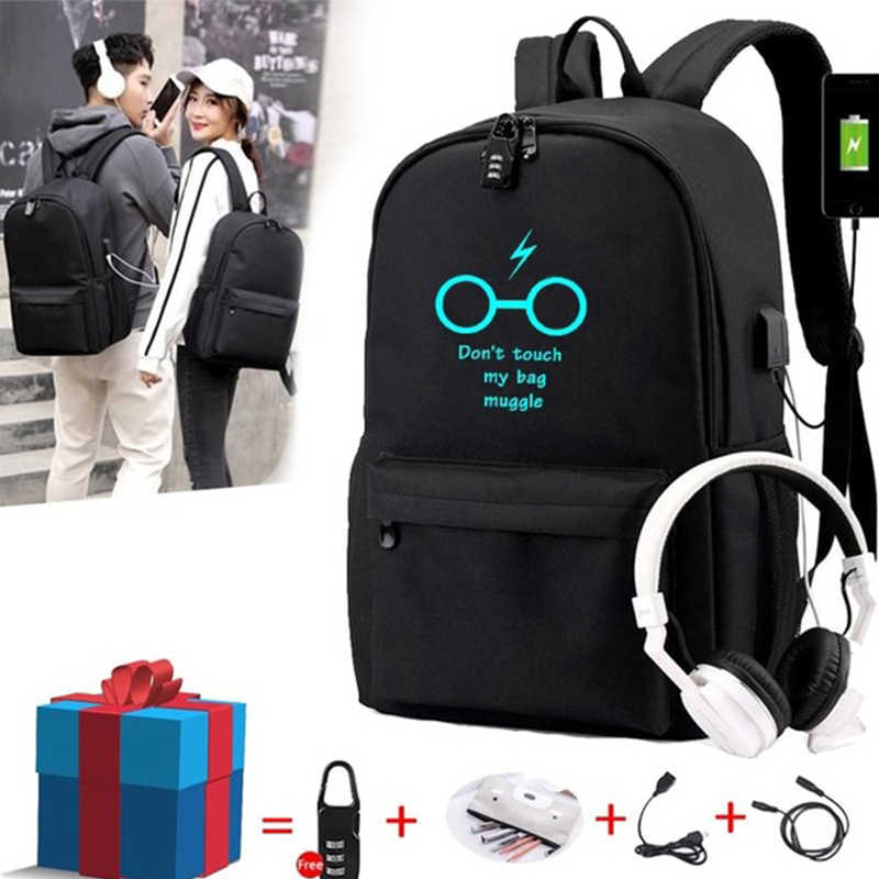 BPZMD Luminous Bag Multifunction USB Charging Travel Canvas Student Backpack For Teenagers Boys Girls School Bag