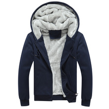 New Hoodies Mens Brand Clothing Hooded Casual Winter Thickened Warm Coat Man Velvet Male Sweatshirts Coat Zipper Cardigan Hoody