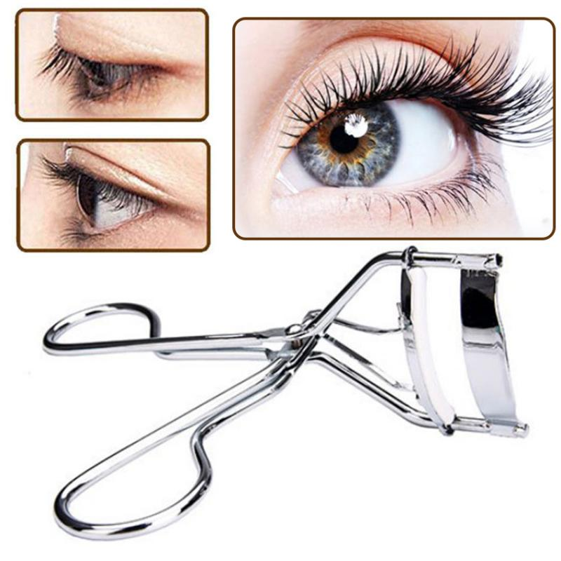 1Pcs Silver White Professional Eyelash Curler Portable Makeup Eyelash Curler Curler Lady Eyelash Cosmetic Makeup Tool Accessorie