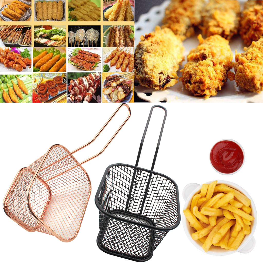 French Fries Basket Portable Stainless Steel Chips Mini Frying Basket Strainer Fryer Kitchen Cooking Chef Basket Colander Tool