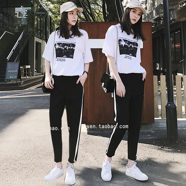 New Products WOMEN'S Suit 2019 Summer New Style Fashion Piece College Style Korean-style Loose-Fit Sports Casual College Style