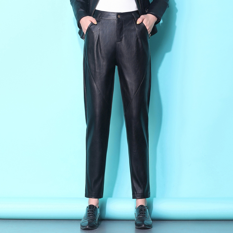 Fp1078 2019 New Autumn Winter Women Fashion Casual Popular Long Pants PU Leather Leather Pants Korean
