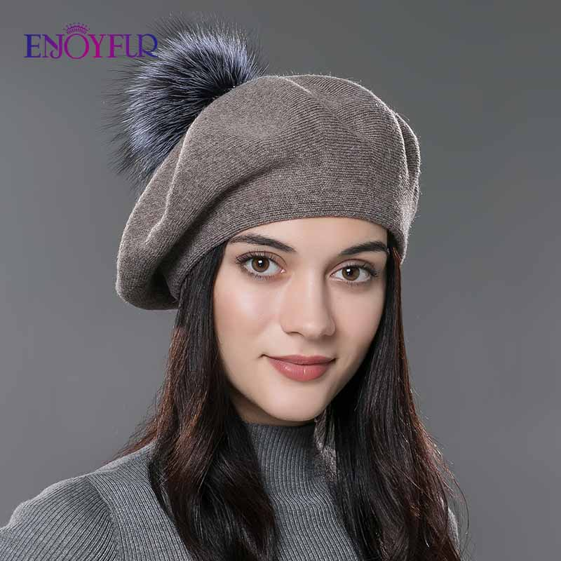 ENJOYFUR Women beret hat female winter knitted wool beret natural raccoon fox fur pompom hat solid color top quality beret cap|beret cap|wool beretwomen beret hats - AliExpress