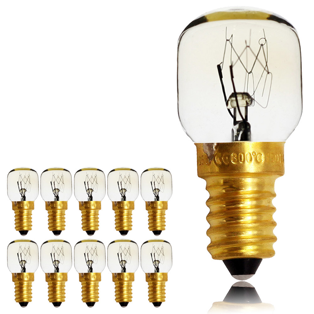 TIANFAN 10pieces/Pack 15W 25W E14 Screw Cap Pygmy Lamps 300 Degree Microwave/Oven Rated Light Bulbs High Temperature 220/240V