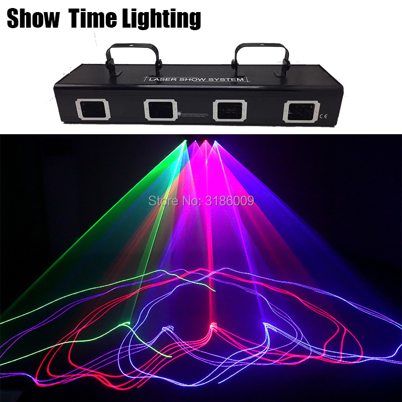 Show Time 4 Lens Bar DJ Laser Red Green Blue Pink Laser Beam Line Scan Disco Lazer Good Use For Home Party KTV Night CLub Bar