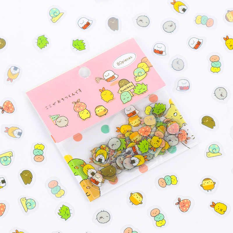80 unids/bolsa pegatinas japonesas de papelería lindo gato pegajoso papel Kawaii PVC diario pegatina de oso para decoración álbum de recortes diario