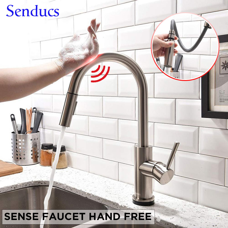 Touch Kitchen Faucet Senducs Pull Down Brushed Sensor Kitchen Mixer Tap Quality 304 Stainless Steel Touch Kitchen Sink Faucets