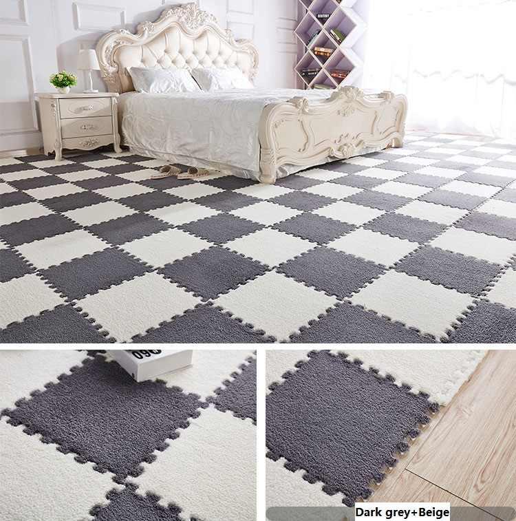 חדש שטיח לסלון DIY שלובים קצף מחצלות פאזל רצפת מחצלות עם קטיפה אנטי להחליק שטיח לסלון שינה מטבח