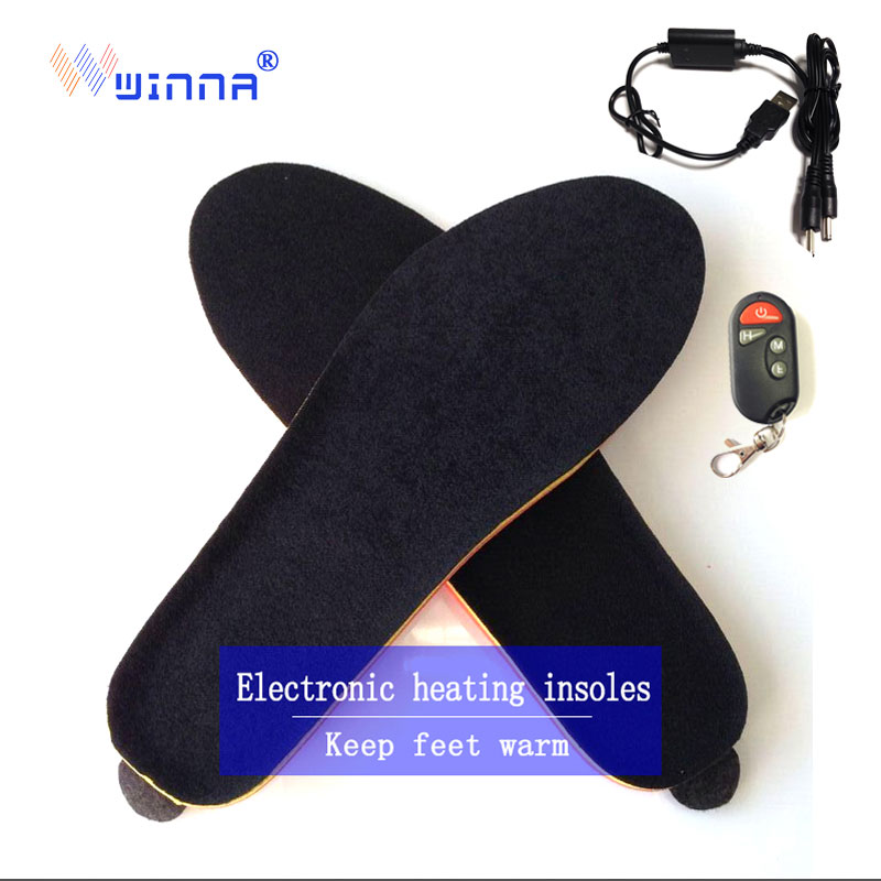 NEW Winter wireless heating insoles with remote control women shoes boot insoles SKI CAMPING insoles for