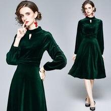 Zuoman женское осенне зимнее элегантное платье бархатное festa