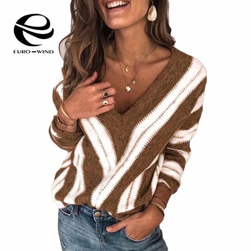 Plus Kích Thước 5XL Mới 2019 Thu Đông Áo Len Nữ Cổ V Sọc Áo Thun Chui Đầu Hàn Quốc Phong Cách Tối Giản Giày Nữ Công Sở áo Len