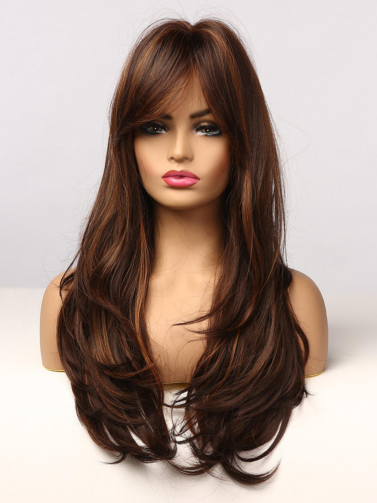 Highlight Wigs Bangs Synthetic-Hair Wavy Heat-Resistant Brown Black Long Golden