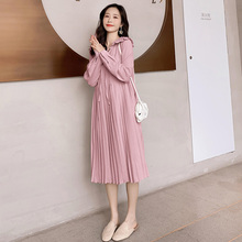 Long-Dress Pregnancy-Clothing Korean Elegant Maternity Autumn Fashion Pleated for Fall