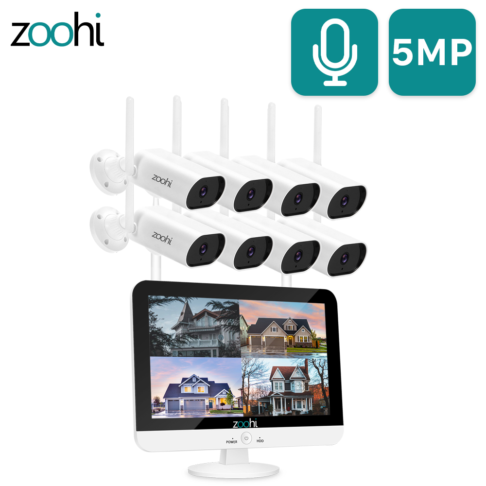 Zoohi 5MP Wifi Camera Set Surveillance Video System 13inch Wireless Monitor NVR Sound Record Home Outdoor Security Camera System