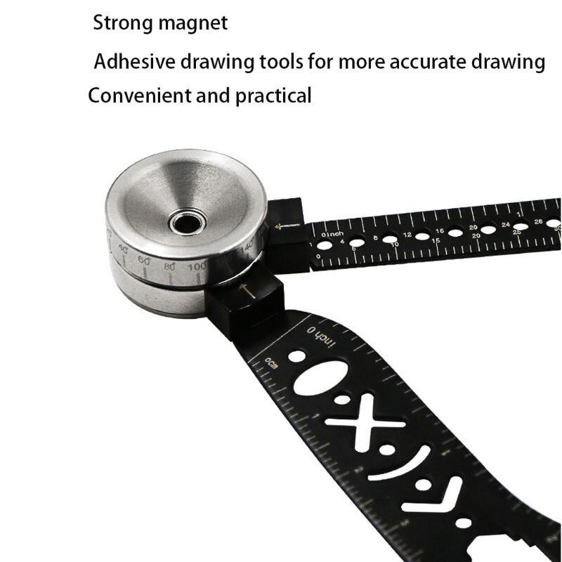 Drawing Compasses Tool Mini Curved Metallic Ruler Compass Versatile Utensil D08B