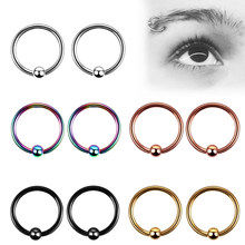 Stainless Steel Ear Tragus Helix Hoop Ring Earring Captive Bead Ball Eyebrow Nipple Nose Lip Body Piercing(China)