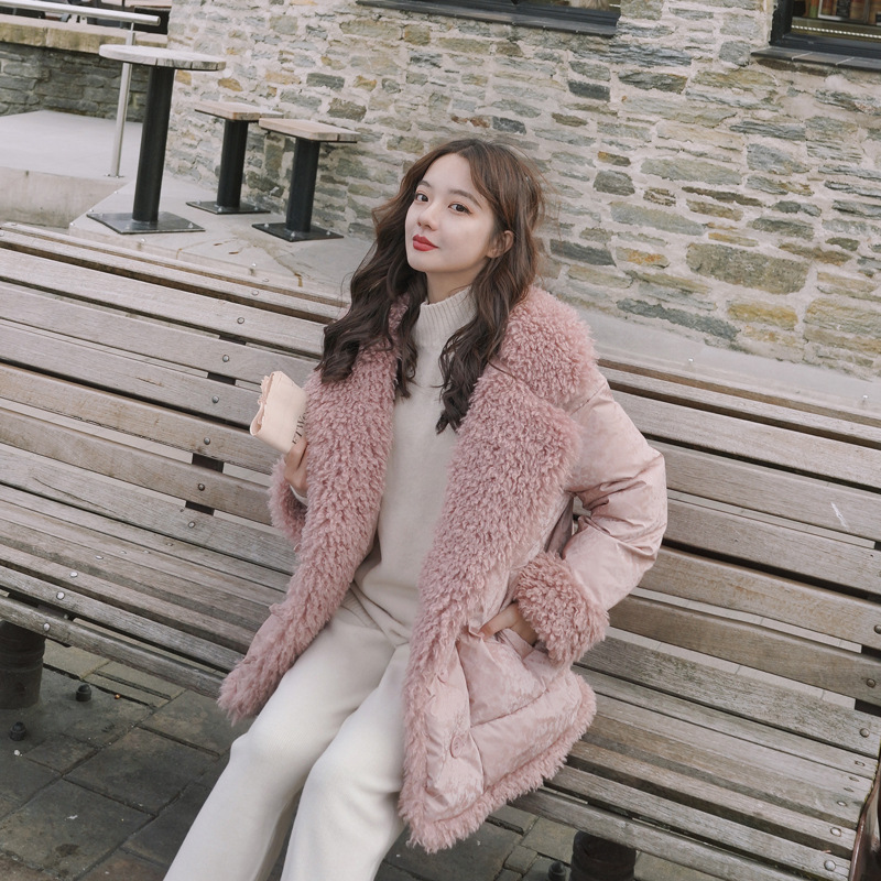 Photo Shoot 2019 Winter New Style Cotton Coat Women's CHIC Korean-style Loose-Fit Short-height Lambs Wool Joint Cotton Overcoat