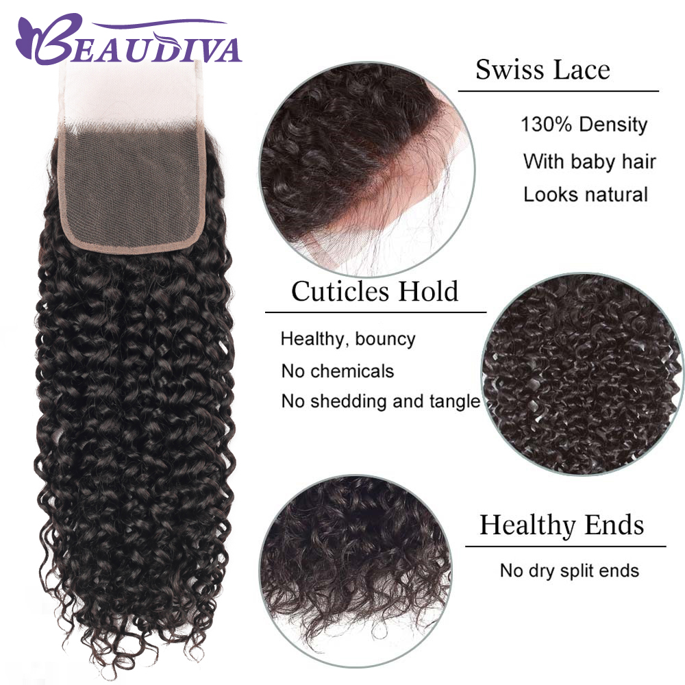BEAUDIVA Hair Products 100%   Bundles With Closure Kinky Curly Natural Color 3 Bundles With 4x4 Lace Closure 5