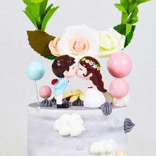 Свадебный поцелуй пара верхушка для торта Свадебный кекс украшения для кексов для свадьбы десертный стол украшения День Святого Валентина торт украшение