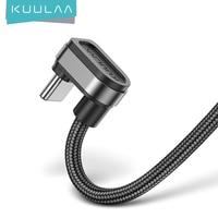 KUULAA-Cable USB tipo C de carga rápida para móvil, Cable de datos de USB-C de 180 grados, para samsung S10, S9, S8, Xiaomi mi