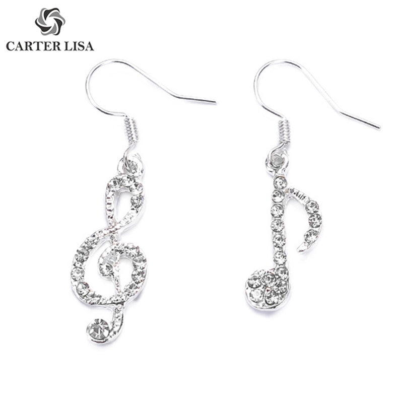 CARTER LISA Asymmetric Music Melody Silver Drop Dangle Earrings For Women Girl Fashion Modern Jewelry Findings Party Pendientes
