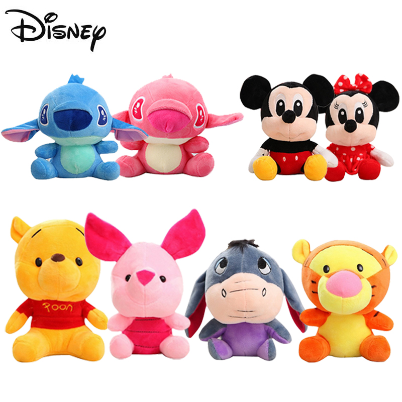 Disney Plush Toy Stitch Winnie Mickey Mouse Minnie Tigger Cute Stuffed Animals Doll Piglet Action figure Toy for Children Gift