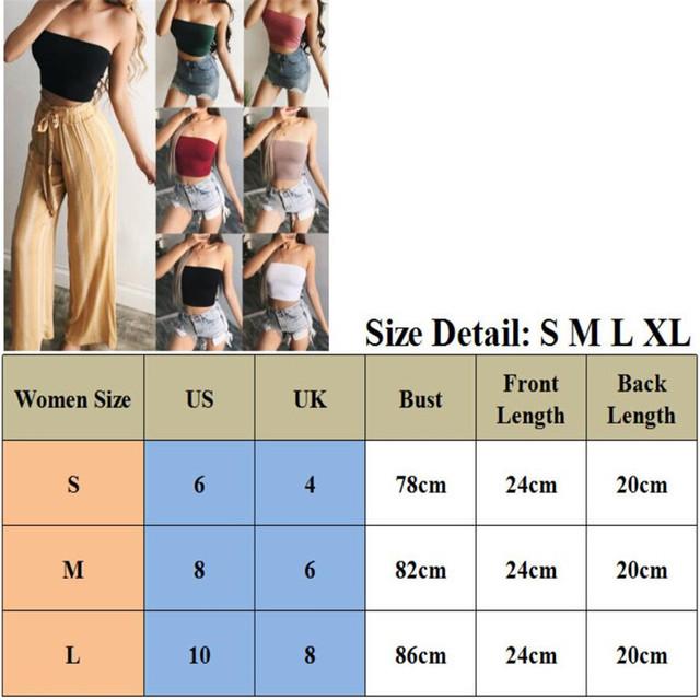 Newest Ladies Tank Plain Boob Tube Strapless Bandeau Elastic Stretch Vest Bra Crop Top