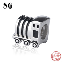 SG new arrival Silver 925 Original little train Charms Antique Beads Fit Authentic pandora Bracelet Jewelry making men Gifts цена