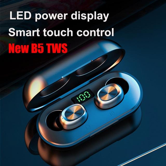B5 tws display led bluetooth 5.0 fones de ouvido sem fio esportes à prova dmini água mini fones com microfone caixa carregamento