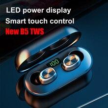 B5 tws ledディスプレイのbluetooth 5.0 イヤホンワイヤレスヘッドフォンスポーツ防水ミニイヤホンとマイク充電ボックス
