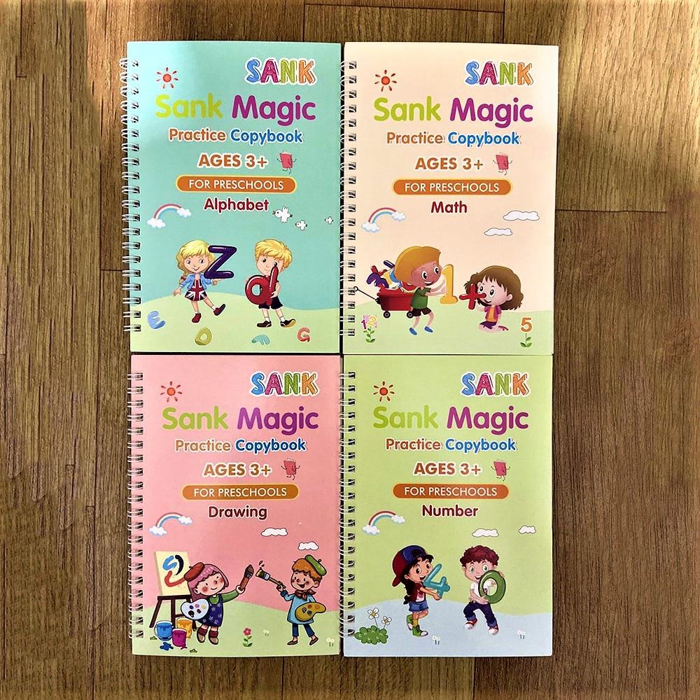 Magic Practice Copybook Reusable Writing Practice Book Set with Pen for Kids English Magic Handwriting Copybook