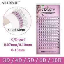 Abonnie – Fans de maquillage russe, 12 lignes, extensions de cils en Faux vison noir, 0.07/0.10
