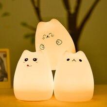 Светодиодный ночник кошка силиконовый сенсорный Сенсор светильник
