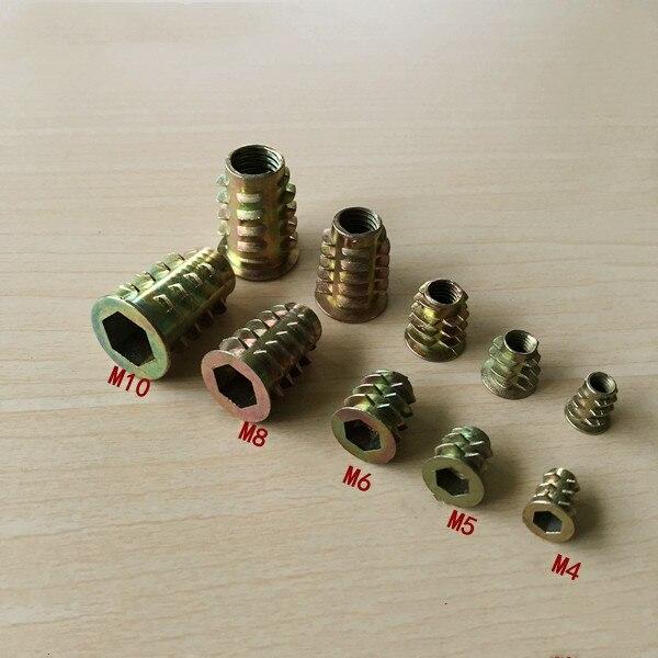 10/20/30/50 Uds M4 M5 M6 M8 M10 Hilo de aleación de Zinc para tuerca de inserción de madera con bridas tuercas hexagonales para muebles Máquina de grabado de modelos de enrutador de madera multifunción de aluminio Placa de inserción