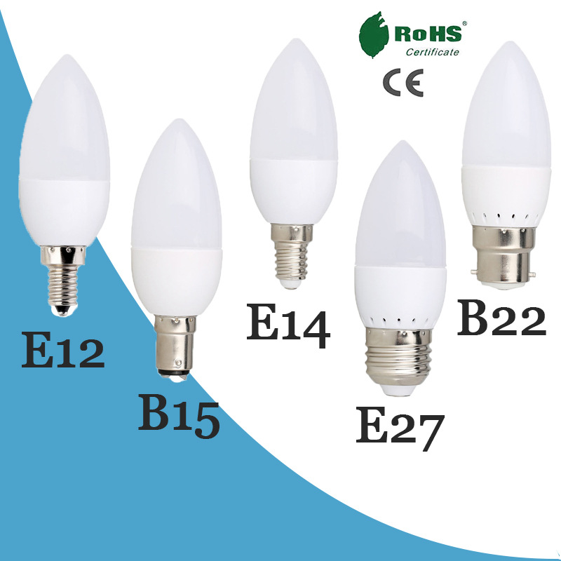 E14 E27 Home Deco 220V 6W 7W Spotlight Candle Bulb Leds Chandelier Light Bombilla For Energy Saving Lamp Lights Candle Bulb