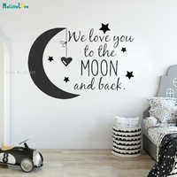 We Love You To The Moon And Back Wall Sticker Lovely Decor For Baby Girl Room Nursery Cartoon Art Vinyl Murals YT2790