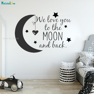 We Love You To The Moon And Back Wall Sticker Lovely Decor For Baby Girl Room Nursery Cartoon Art Vinyl Murals YT2790(China)
