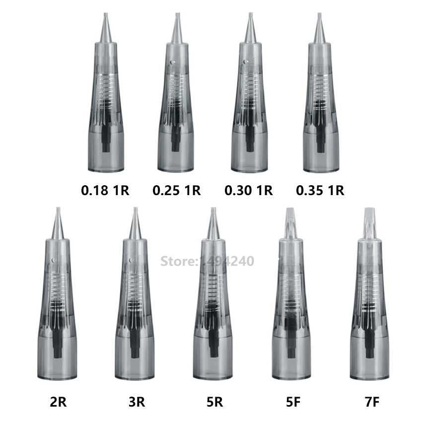 100Pcs Makeup Microblading Needles Eyebrow Lip Tattoo Needle Cartridges Semi Body Permanent Makeup Accessory Push-in Type 1P