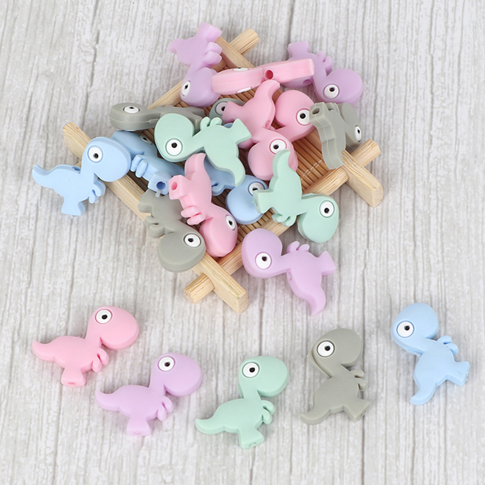 10pc Mini Animal Teether Silicone Beads Food Grade Dinosaur Shape For Pacifier Clips DIY Baby Teething Toy Cartoon Silicone Bead
