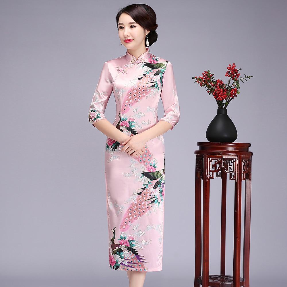 Novelty Chinese Traditional Women Cheongsam Long Sleeve Elegant Qipao Split Stage Show Clothing Big Size 6xl Dress Vestidos