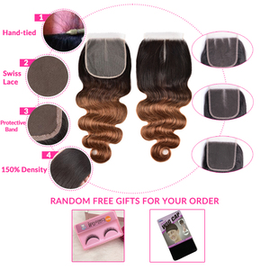 Image 5 - 옹 브르 바디 웨이브 번들 (Closure Ombre Human Hair 3 4 Bundles With Closure Remy) 브라질 헤어 위브 번들 (Closure Remy)