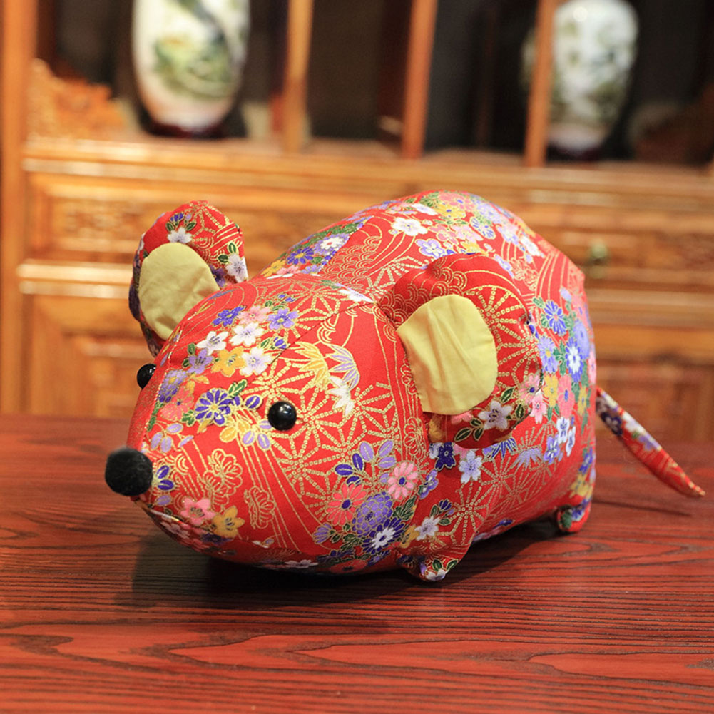 Year Of The Rat Chinese Style Mouse Plush Toy Cotton New Year Holiday Home Car Decoration 23cm Children Doll Toy Gift