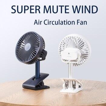 JISULIFE-Ventilador de escritorio recargable para hogar, oficina, dormitorio, mesa súper silencioso, ventiladores...