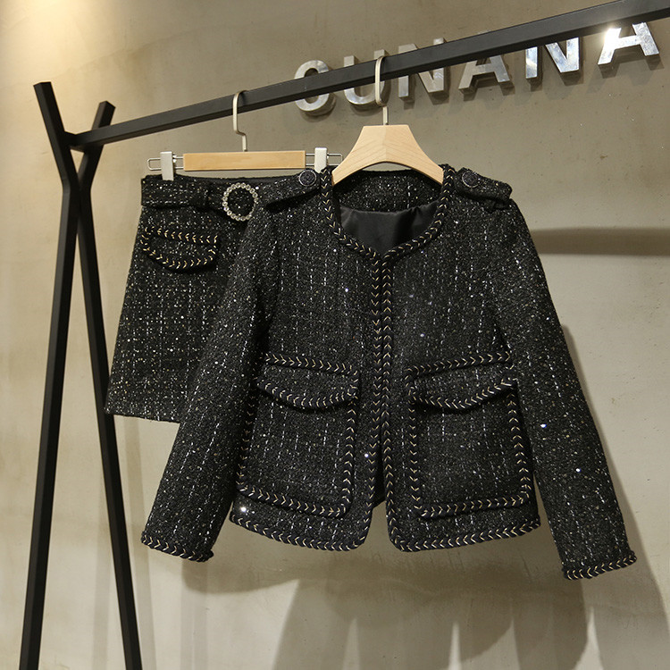 Women's High Quality Black Tweed Coat+A-line Skirts Autumn Elegant OL Skirt Suit B262