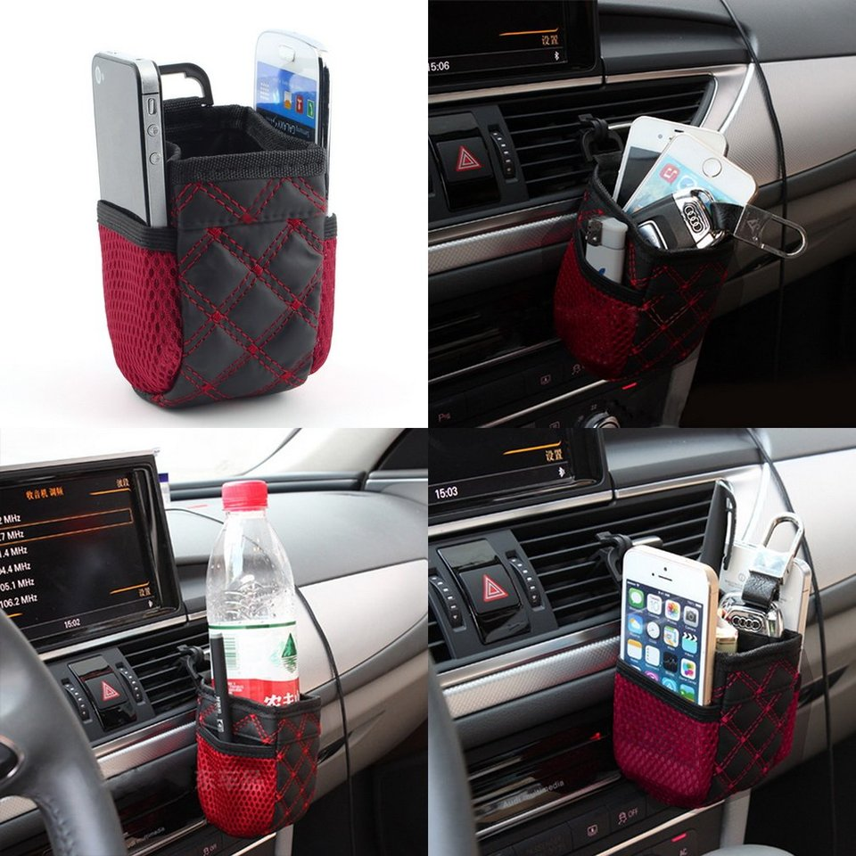 Amerryllis Mini Car Tuyere Grocery Bags Car Bag Cell Phone Pocket Car Pouch Glove Black-Red Car Storage Outlet Auto Car Accessory
