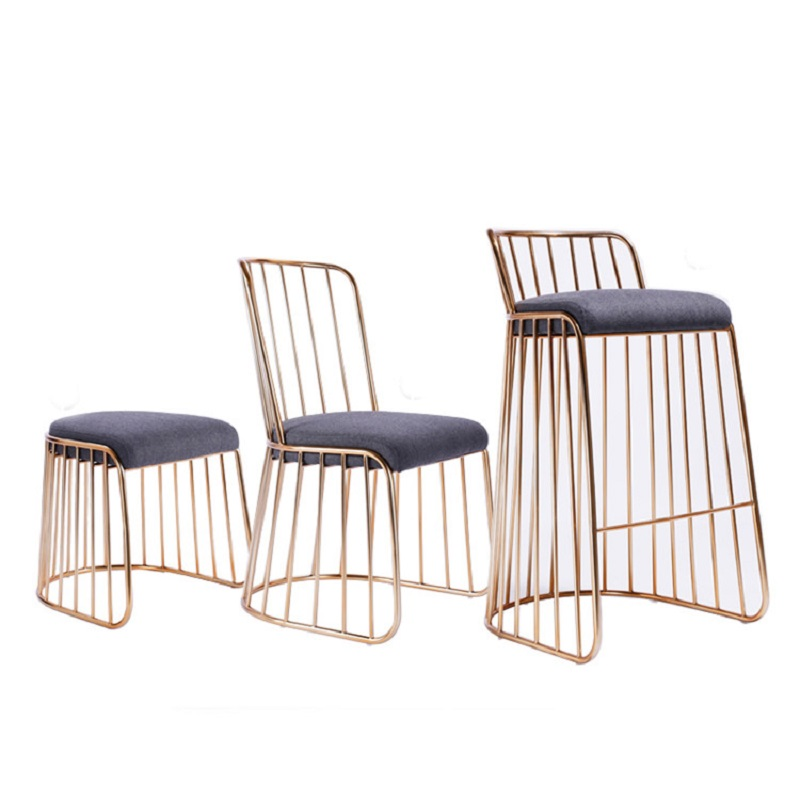 H1 Nordic Modern Minimalist Golden Wrought Iron Dining Chair Cafe Chair Leisure Creative Chair Golden Metal Chair Cheap